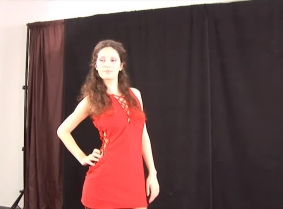 Anna is back even more determined to do everything to push the  limits of messy therm even further... This time she wear a red dress and underneath that dress she wears black lingerie and black stockings. We offered her a bucket full of blue gunge to play