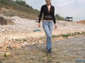 For the wet socks fans and the wet jeans fans and the wet boots fans and for the casual clothes fans... here is Caroline for all of you soaking herself in the sea.