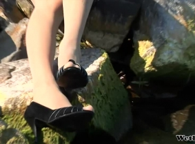 Most probably some of you have already seen Edith on jeansandpants.com, this is the first update with her on this site tough. She is wearing a black dress, tan pantyhose and black open toe heels.