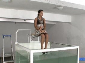 How many times do you think it's fun to fall 2.5 meters into a tank that contains nearly 3,000 liters (660 gallons) of water? Raluca knows the answer to that question, that's for sure.