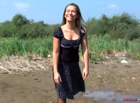 Those black heels and pantyhose was not created for the mud and water... but we have to agree that they look great wet and messy ;) 