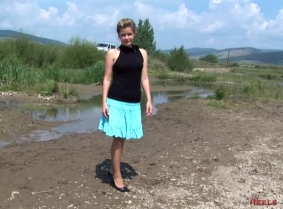 Theodora is back in the mudpit, with another pair of sexy heels, but this time she wears tan Lycra pantyhose. Check out the update to see those heels and pantyhose well dirtied in the mud.   NOTE: As every other update on this site this update contains