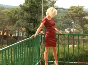 This update was shot in Spain during our shooting campaign near Barcelona. Aida is wearing a satin cocktail dress, brand new high heels and tan pantyhose.