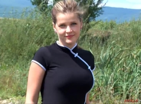 Because she is dressed completely in black, Theodora is doing her best to add lots of brown mud on her heels and pantyhose, and she is pretty sure that everyone will enjoy that.  NOTE: As every other update on this site this update contains a clip, enco