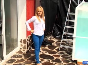 Monika is up for another dunk tank session, this time wearing a pair of tight pants, high heels and a white shirt, which became quite seethru when wet. What do you think? How many times did we miss the target on this one? Check out the clip to see  ;)