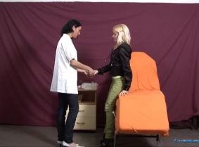 Viva felt a little sick and she went to visit the doctor. The doctor was out but Ilka the nurse thought that this blonde girl would be the perfect subject to get some experience, so she pretended to be the doctor and invited Viva to take a seat. Like any