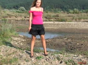 Walking in mud, messing your heels and pantyhose can be a very relaxing way to spend part of your afternoon ;)