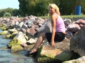 Another sexy update in the Balaton lake... Edina was wearing a black skirt, tan pantyhose, pink top which got seethru when wet and a pair of black heels.
