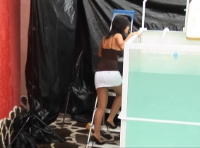 Eva is dunked in a super sexy outfit pantyhose and heels...