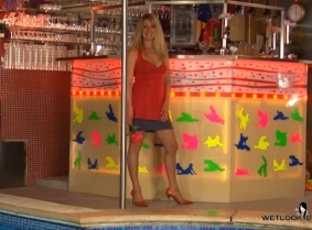 Laura is enjoying the pool after a fun night out. She wears a pink top and matching heels, a gray skirt, and tan fishnets.