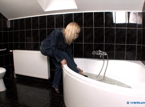 This video was a custom request to do a clip with Viva in the bath wearing LEE brand jeans. We added the heels and the blouse and you have a new jeans update, this time with a jacket on.