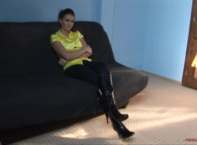 It's time for a boots update for the fans... Maya is wearing a sexy pair of patent leather boots, pantyhose and jeans... She is performing a shoe play session and then of course she get those nice boots wet into the pool. NOTE: the clip is intended for t