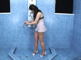 This is the first update with Karmen. She is 19 and in this update, she is wearing one of her own negligees. Enjoy watching her get soaked under the shower.