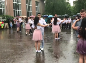 Russian girls in the rain
