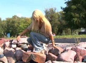 We have another pair of jeans soaked into the lake on Edina's sexy bottom.