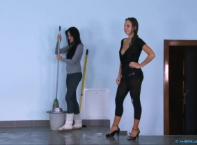 Adria and Andreea E are playing together a funny role play game where Adria play's as a cleaning lady and Andreea E as a bossy mistress that is never satisfied with her cleaning employee. The parody itself was fun to be played said the girls BUT we are s
