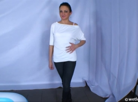Simonne is playing along in our new POV update, she let herself showered into the kiddy pool. She starts the clip dressed with skinny jeans and boots with a white blouse but during the clips she removes most of the clothes ending the clip topless with the