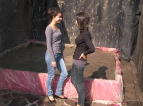 We have a new mud fight video for you guys Bernadett and Timi fight with each other in the mud for our money prize. They ruined each other clothes and cover themselves with loads of mud BUT you can see them clean again at the end of the clip as we include
