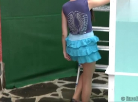 Brigitta is dunked wearing a summer skirt and top, tan pantyhose and high heeled shoes.