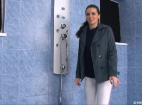 In this update Sabina plays a little for us in the shower... She is wearing a casual outfit and leather boots.  During the clip she removes the coat and she continues to soak her thin purple blouse and she also removes her boots so we have a few nice clo