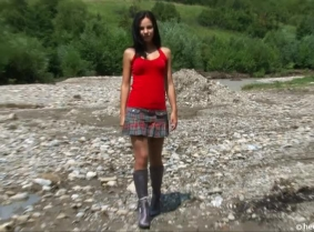 Hilda is ready for a new mud play. She is wearing a pair of fancy high heeled boots and a pair of tan pantyhose and she looks very sexy with them covered with thick mud.