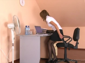 This is probably Enci's sexiest update yet. This is the first part of a longer custom video production that we decide to upload in two separate parts instead of cutting it to be around 10 minutes. In this part Enci is in the office, she is working at her