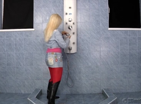 Mira is always happy to get her clothing wet. And there in no better proof then this update. Watch her taking a shower, soaking her boots, denim jacket and mini skirt, red pantyhose and pink t-shirt. During the shower session Mira takes of her jacket an
