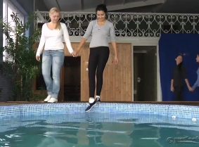 A special update for the special day ;)  We have Adria, Madalina, Mira, Alex, Kata and Timi playing together in the pool, having a great fun splashing and fooling around.  Dress code is casual for this update, so we have: leggings, jeans, sport shoes, b
