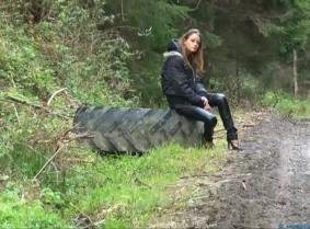 """Eszter just loves to go out and just relax in the middle of the nature and every """"trip"""" to the woods have to end with something for her to remember. This time she picked the clothes carefully, she put on a pair of high heeled shoes, a pair of tight leathe"""