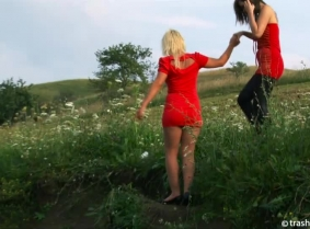 Judith and Geena are back and once again they managed to deliver an outstanding performance, a session where they combine their charms with a lot of mud...   After they mess each other's clothes properly they strip topless and have a blast playing in the