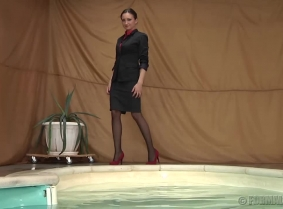 There are many things that we like about Simonne, but probably the best of all is that she always dresses up in her finest clothes and she is wearing her finest heels without any fear that she could ruin them in the water. 