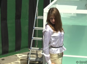 """We have a new """"first timer""""  Some of you probably know her from our wetlookparty.com website. Kinga has chosen from her closet one of her working outfits. Hopefully all the dunk tank fans will like her and give her a warm welcome download :)"""