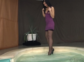 Irma's negligee was sexy enough even when dry... but after she soaked it in the pool it looked even better.