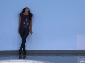 Sabina's casual outfit could not look any better then it looks in the pool. Her wet leggings and thin top look just great and Sabina feeling sexy posing to the cameras for us.