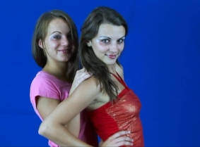 Reka and Andreea E are back for a new update for their fans. This time their outfit is casual so we are sure the jeans fans will enjoy this session. Lots of chocolate is gently placed on each other's clothing and then on each other's topless bodies. S